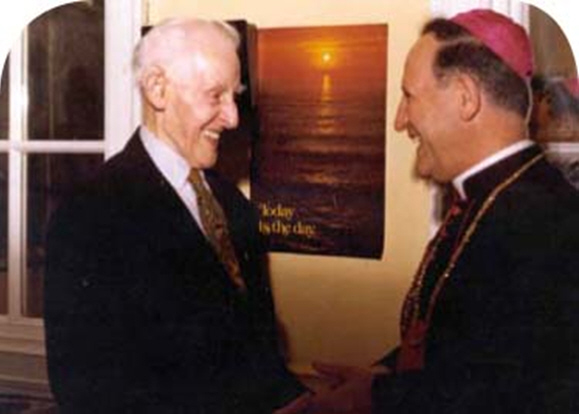 Archbishop Gaetano Alibrandi meeting Frank Duff, founder of the Legion of Mary.