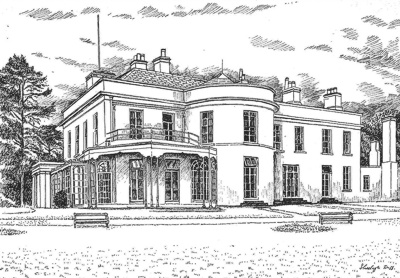 Ashtown Lodge as it was before demolition. Drawing by Sheelagh Duff