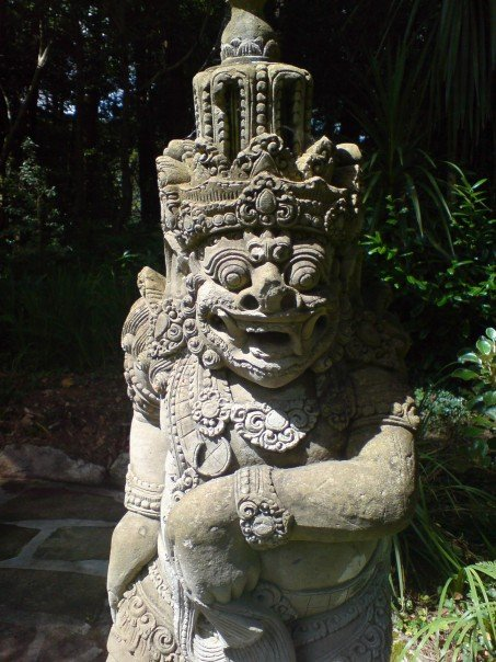 One of the pair of Balinese statues in the gardens of Glenveagh Castle.