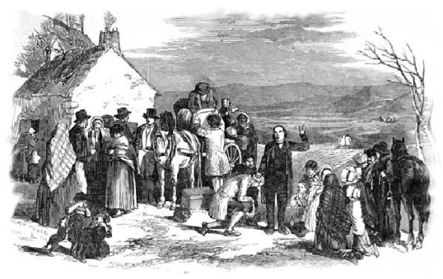 "One of many woodcuts depicting the evictions. Tenants had few rights in Ireland at the time, and the Derryveagh Evictions were far from unique. Eventually this would lead to the ""Land War"", a period of civil unrest."