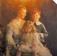 Milo and Rose with their mother. This painting still hangs in the castle today.