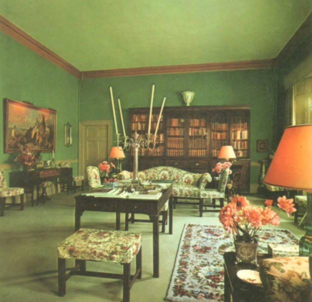 The library of Glenveagh Castle in 1973. It remains today in the same state, preserved as McIlhenny left it.
