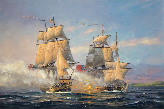 John Paul Jones' ship, the Ranger, in combat with HMS Drake off the coast by Carrickfergus. Painting by Patrick O'Brien