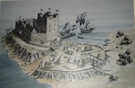 Carrickfergus Castle as it would have been in Norman times. Image source unknown.