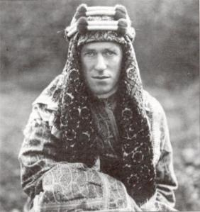 TE Lawrence, wearing traditional Bedouin garb. His attempts following World War I to establish an independent Arabia would be frustrated by the colonial competition of France and Britain.