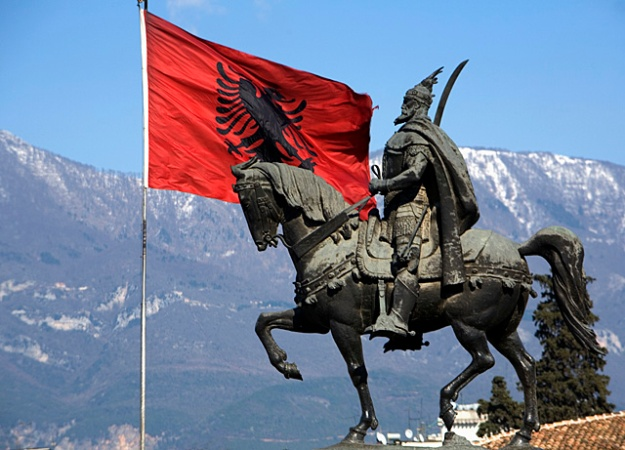 One of the many statues, both inside and outside Albania, that honour Sir Matthew de Renzi's illustrious ancestor Skanderbeg.