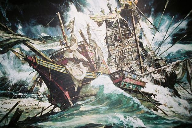 An artistic impression of the wreck of the Girona. Image via Wikimedia Commons, but original source unknown.