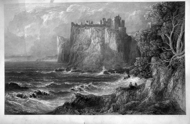 An engraving of Dunluce Castle by William Miller, made in 1848.  Note that the cliff does not appear to have collapsed yet.
