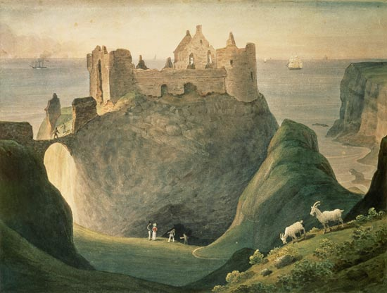 A painting of the castle by Augustus Earle, in 1835, showing the entrance to Mermaid's Cave.