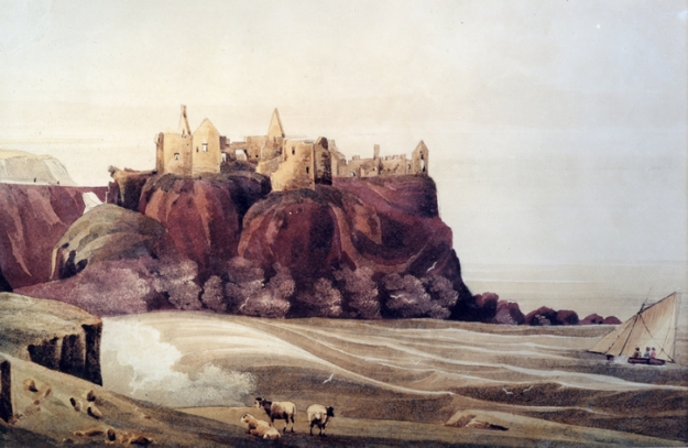 Painting of Dunluce by Andrew Nicholl, Irish Victorian landscape painter.