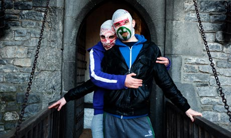 Local music stars The Rubberbandits at the gate of Bunratty Castle