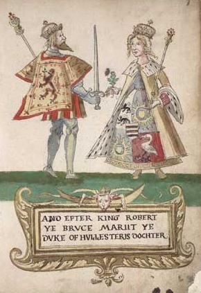 An illustration from an armorial showing Robert Bruce and Elizabeth de Burgh
